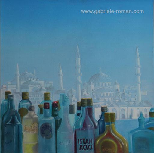 Istanbul: Haghia Sophia und Blaue Moschee im Hintergrund. Im Vordergrund eine Ansammlung von Flaschen mit Alkohol. Symbol für die Kluft zwischen säkularen und  religiösen Türken.
