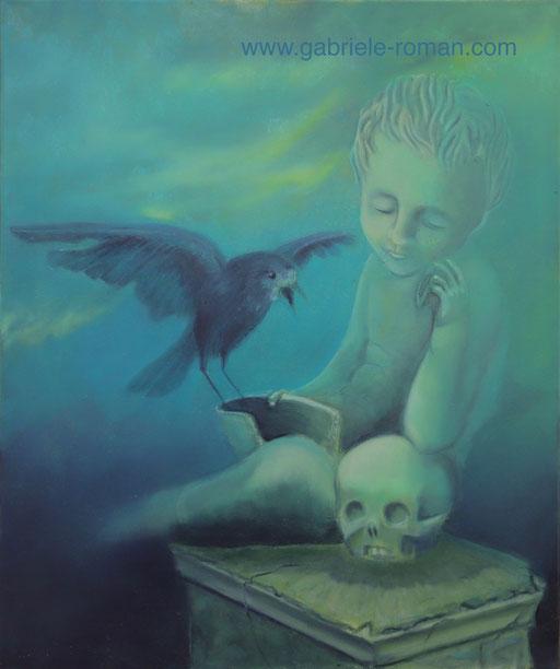 In Erinnerung an meine kleine, große Schwester Gertrud. Ein Rabenvogel hat sich auf die zerbrochene Schale eines Kindergrabes niedergelassen. Die Steinfigur eines Kindes stützt sich auf einem Totenschädel auf. Das Vorbild ist auf der Fraueninsel/Chiemsee.