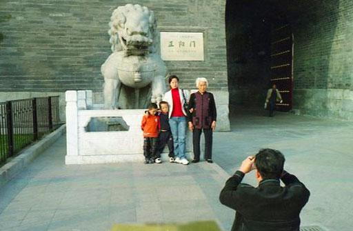 Erinnerungs-Photo für der mächtigen Löwen an der Festungs,auer