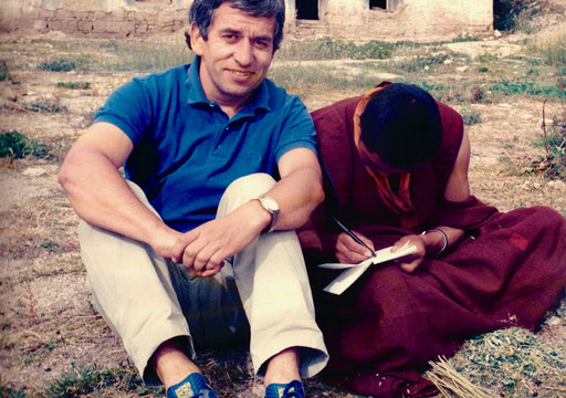 zum Abschied schrieb mir Tenzin etwas tibetisches in mein Tagebuch