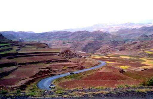 das Bergland von Menschen bewirtschaftet von der Natur geformt