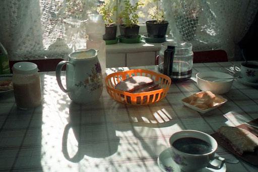 zum Frühstück gab es Toast und Kaffee