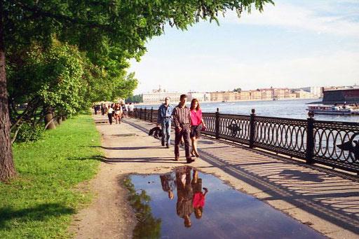 am späten Nachmittag erreichte ich die Promenade an der Newa