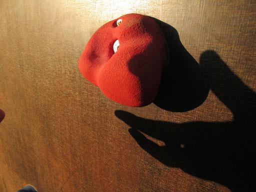 an der Kletterwand der Schule inzinierte ich im warmen Abendlicht einige  surreale Schatten-Studien