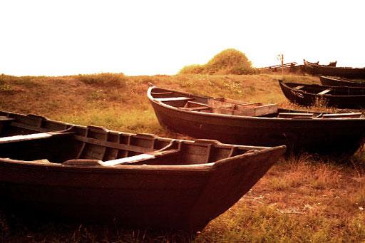 Alte Holz-Ruderboote in Cap Arkona
