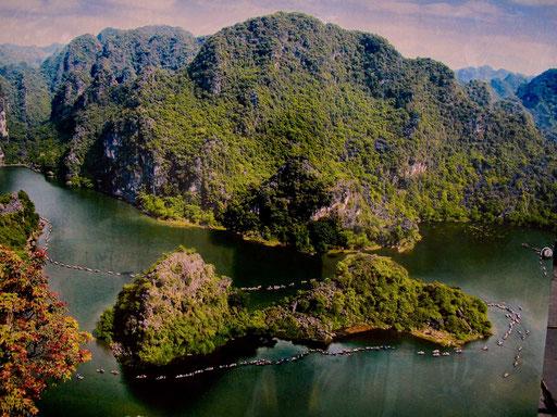 2,5 Std. lang ruderte uns eine junge Vietnamesin durch die 10 Grotten
