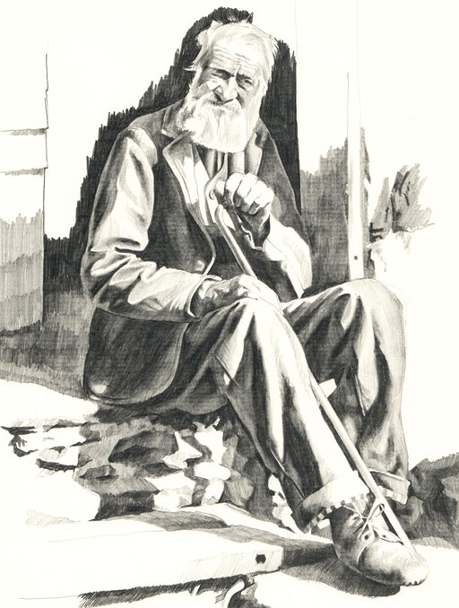 Tobias; Willa; Illustration; Basel; Walliser; Bauer; Paysan; Valaisan; Jean Gaberell; Zeichnung; Dessin; Bleistift; Crayon