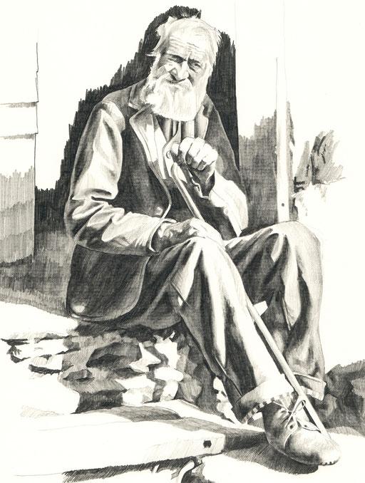 Tobias; Willa; Illustration; Basel; Walliser; Bauer; Paysan; Valaisan; Jean Gaberell; Zeichnung; Dessin; Bleistift; Crayon; Schweiz; Suisse