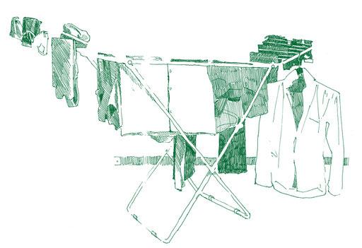 Tobias Willa; Illustration; Basel; Zeichnung; Skizzenbuch; Beobachtung; Croquis; Dessin; Observation; Wäscheständer; Haushalt; Kleider; Etendage; Ménage; Habits; Fineliner; Mont Blanc;