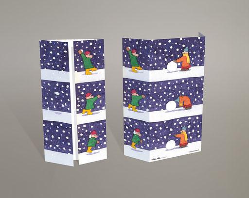 Karte; Card; Carte; Grusskarte; Weihnachtskarte; Weihnachten; Neujahr; Noel; Nouvel An; Dessin; Zeichnung; farbig; colourful; colorié; drôle; lustig; funny; Schneeball; Schnee; Boule de neige; bataille; flocons; hiver; Winter; Spiel; Jeu; froid; histoire;