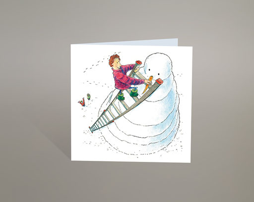 Schneemann; Karotte; Rübli; Rüebli; Carotte; Leiter; Echelle; Neige; Schnee; Bonhomme de neige; Hiver; Winter; Kalt; Weihnachten; Kinder; Lustig; Humor; Karte; Greeting; Card; Snowman; Frostie; Tobias Willa; Illustration; Drawing; Snow; Zeichnung; Shop;