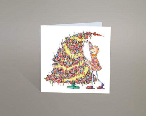 Karte; Card; Carte; Grusskarte; Weihnachtskarte; Weihnachten; Neujahr; Noel; Nouvel An; Dessin; Zeichnung; farbig; colourful; colorié; drôle; lustig; funny; Sapin; Tannenbaum; Kerzen; Bougies; Dekoration; Christbaum; Schmuck; Überladen; Déco chargée; Shop