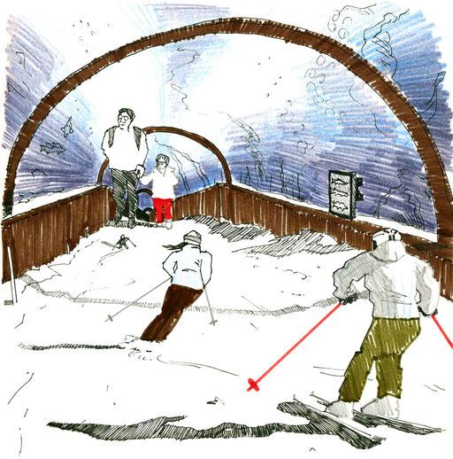 Waterski; Tobias Willa; Illustration; Skis; Ski; Piste; Schnee; Neige; Snow; Winter; Hiver; Aquarium; Ozeanium; Oceanium; Fische; Poissons; Fishes; Wasser; Water; Eau; Visiteurs; Visitors; Skieurs; Skifahrer; Filzstift; Zeichnung; Entwurf