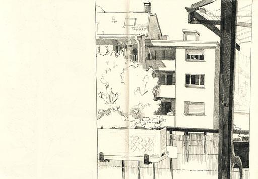 Innenhof; Cour intérieure; dessin; Zeichnung; observation; bleistift; crayon; Skizzenbuch; Skizze; Croquis; Tobias Willa; Illustration; Basel; St. Johann; Architektur; Vue; Sicht;