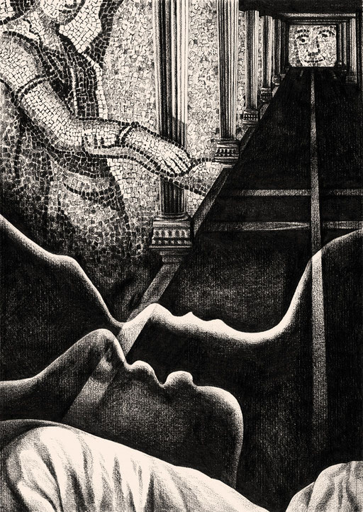 Love; Poem; Gedicht; Liebe; Poesie; Poème; Imtiaz Dharker; The Trick; Perspective; Mosaik; Mosaïque; Amour; Baiser; Kiss; Body; Körper; Kuss; Bett; Symbol; Zeichnung; Mysteriös; McLuhan; Bleistift; Papier; Pencil; Complex; Drawing; Dessin; Colonne; Regard