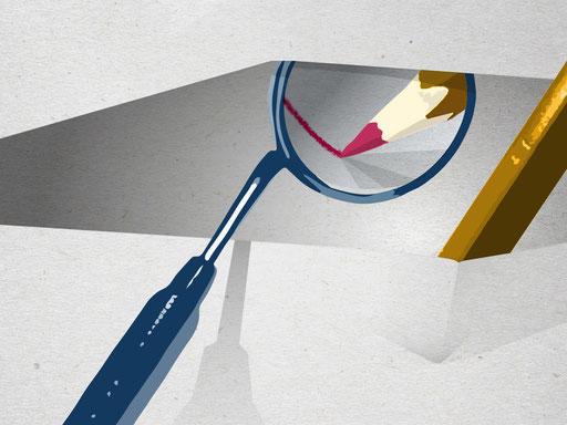 Zahn; Zahnmedizin; Mundhygiene; Dentiste; Médecine dentaire; Outils; Tools; Designing; Werkzeuge; Infrastruktur; Material; Illustration; Tobias Willa; Basel; Spiegel; Bleistift; Mirror; Pencil; Papier; Crayon; Mirroir;  Gemeinsamkeit; Dessin; Präzision;