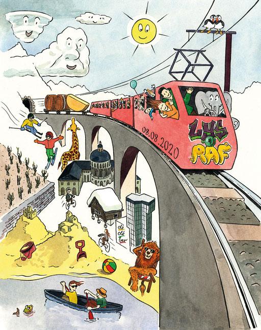 Faire-part; Mariage; Hochzeit; Einladung; Karte; Illustration; Auftrag; Commande; Löwe; Lion; Elefant; Eléphant; Islande; Island; Namibie; Namibien; Kanu; Fisch; Giraffe; Girafe; Nuages; Wolken; Zug; Train; Gleise; Brücke; Pont; Tobias Willa; Zeichnung; D