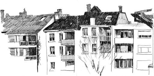 Bleistift; Zeichnung; Hof; Beobachtung; Urban Sketching;