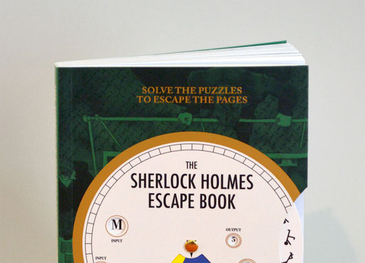 THE SHERLOCK HOLMES ESCAPE BOOK; THE ADVENTURE OF THE LONDON WATERWORKS; Cover; Book; Ormond Sacker; Illustration; Tobias Willa; Ammonite Press; The Guild of Master Craftsmen Services Ltd; Buchcover; Code Wheel; Solve the Puzzles to escape the pages