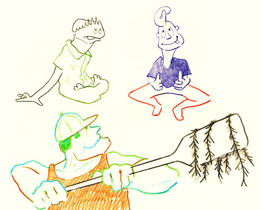 Algen; Algues; Nebenwirkungen; Effets Secondaires; Figures; Figuren; Farbstift; Crayon couleur; Pêcheur; Fischer; Tobias Willa; Illustration; Basel; Verrückt; Zeichnung; Dessin; Fou; Skizze; Croquis; Personnages;