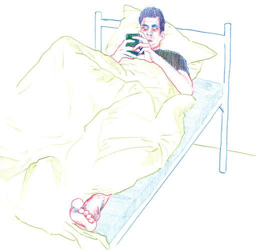 Liegender; Bett; Farbstift; Zeichnung; Basel; Illustration; Mode; Smartphone; Drapery