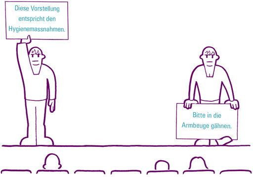 Arba; Ischak; Comic; Ischak und Arba; Ichaq et Arba; Ishaq and Arba; Coronavirus; COVID-19; Hygienemassnahmen; Theater; Kultur; Aufführung; Vorstellung; Darbietung; Kunst; Bühne; Publikum; entspricht den Hygienemassnahmen; Gähnen; Schutzkonzept; Hinweis
