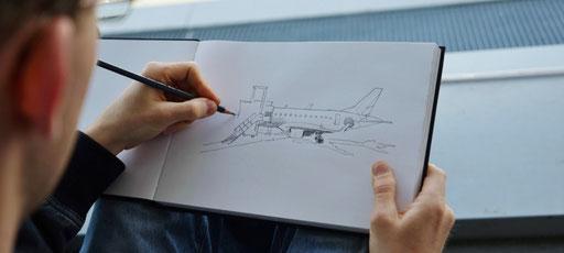 Beobachtungszeichnen dessin d'observation flugzeug avion bleistift skizzenbuch