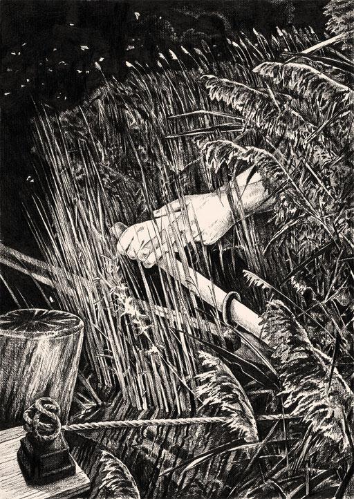BIC 2020; Book Illustration Competition; Tobias Willa; Basel; Zeichnung; Dessin; Drawing; Papier; Crayon; Pencil; Bleistift; Complex; Komplex; Symbolistisch; Liebe; Gedicht; Love; Poem; Water; Exploration; Ship; Abenteuer; Emily Dickinson; Wild Nights!