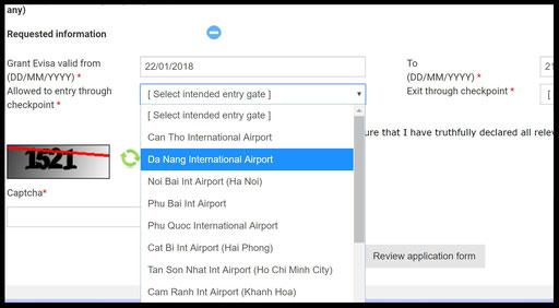 Auswählbare Grenzübergänge, die e-Visa akzeptieren