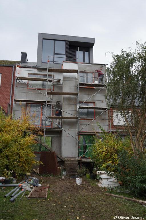 Lucarne zinc - box on the roof - Chantier  Architecture Namur - renovation façade