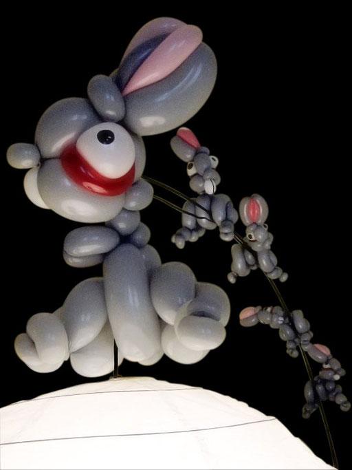 """sculpture de ballons """"lapin"""" Le Pat"""