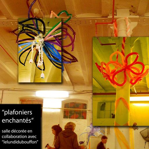 plafonier fleur déco-twisting baptême sculpture de ballon