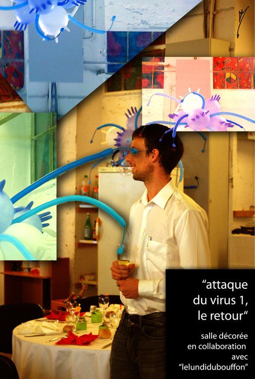 """sculpture ballon déco-twisting """"attaque du virus 1, le retour"""" baptême"""