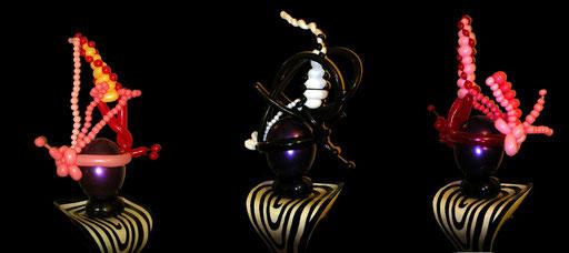 """sculpture de ballons """"chapeaux de soirée"""""""