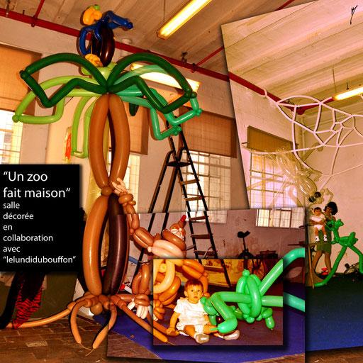 """sculpture ballon déco-twisting """"un zoo fait maison"""" baptême"""