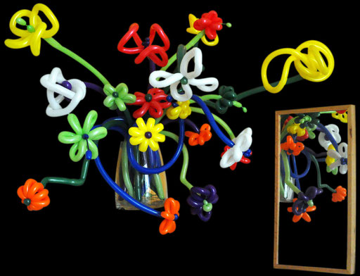 "sculpture de ballons ""bouquet de fleurs""  en 2 ballons 160Q"