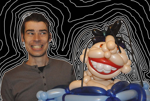 "sculpture de ballons ""sirène punk"""