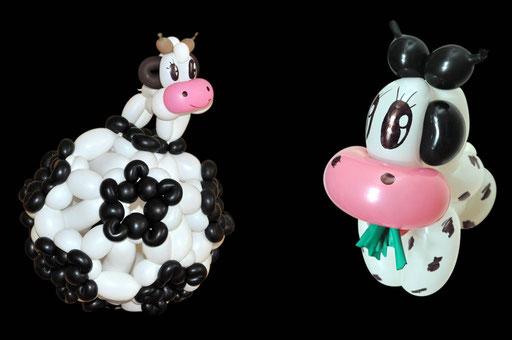 "sculpture de ballons ""vaches"""