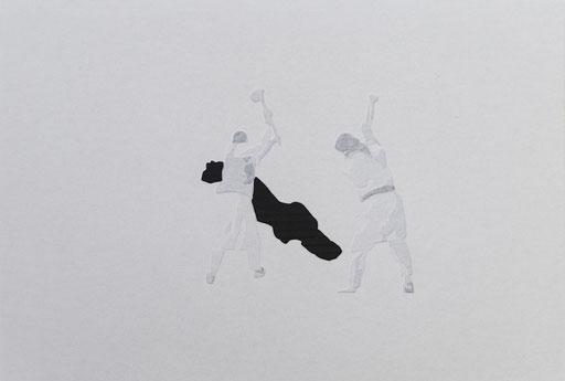 Giorgio Tentolini, Iconoclaste, 2016-17, carta pergamena bianca intagliata e sovrapposta a fondale nero, 45×30 circa con cornice [riferimento: fotogrammi dei video ripresi durante la distruzione del Muse di Mosul ad opera dei seguaci dell'ISIS e immagini