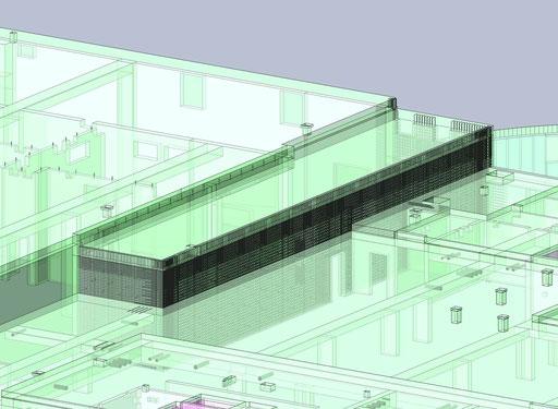 Bewehrungskörper im Gebäudemodell