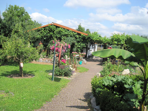 Blick auf die Gartenanlage