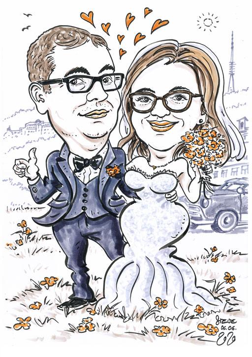 Karikatur Foto Hochzeit
