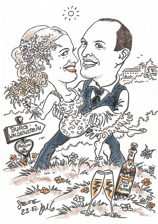 Karikatur Schnellzeichner Hochzeit Steve