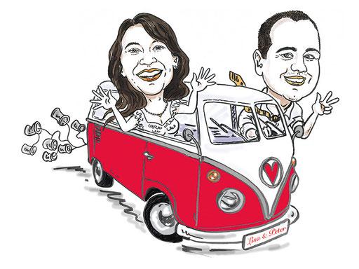 Karikatur Hochzeit Einladungskarte