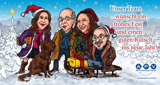 Karikatur Gruppenbild Weihnachtskarte
