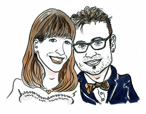 Karikatur Hochzeitskarte