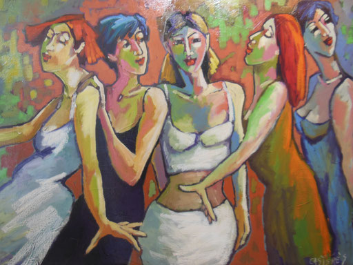 RIBAMBELLES - Huile sur toile - 116x89