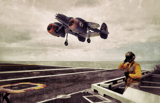 "A P48C ""Pelican"" (""Flotille 44 F"", French Navy Air Forces) lands on the aircraft carrier ""Denfert-Rochereau"" / November 1947 / off the coast of Morocco"