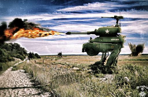 "Medium combat walker M2B ""Hot Dog"" / Piove di Sacco (Northern Italy) / July 1947"
