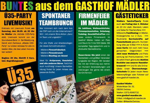 Gasthiof Mädler mit Ü35 Party und Livemusik